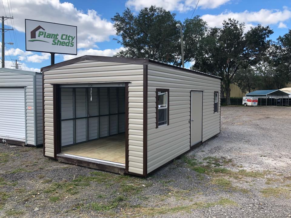 Plant City Sheds lot with open shed