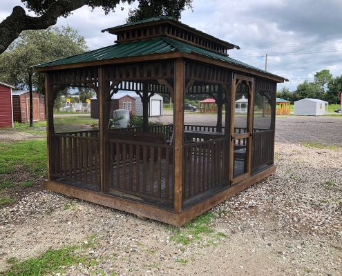Brown wood Gazebo with Green Tin Roof